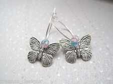 BUTTERFLY SILVER PLATED Hoop Earrings Pink Blue Glass Crackle Beads Gift Bag