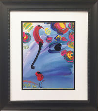 "Peter Max - ""Profile on Blue"" 1990 Newly CUSTOM FRAMED Print Art POP psychedelic"