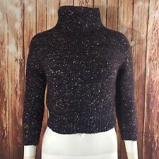 Wilfred Aritzia Turtle Neck Sweater Wool Blend Women's Size XS Purple Crop Top