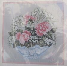 Rose Bowl Counted Cross Stitch Kit Pink Roses In Glass Bowl Sealed Janlynn 1989