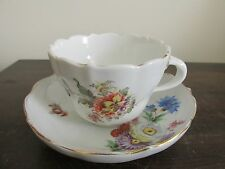 Meissen Germany Porcelain Tea Cup And Saucer Set Flowers #2