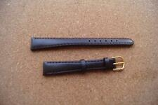 BROWN  Real  Leather  WATCH STRAP  14MM  WITH  GOLD  BUCKLE