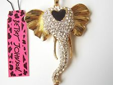 Betsey Johnson Rhinestone Elephant Pendant Necklace #Z105