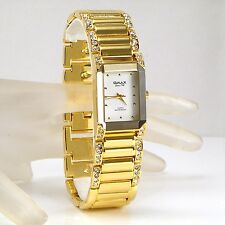 OMAX Seiko Movt Gold PL Bevelled Mineral Dress Watch w/ Swarovski Crystal JES612