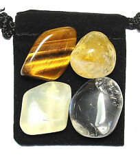 MANIFEST LUCK Tumbled Crystal Healing Set = 4 Stones + Pouch + Description Card