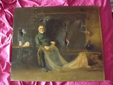 ANTIQUE OIL PAINTING FOR RESTORATION FISHERMAN MENDING NET  CORNISH SCHOOL?