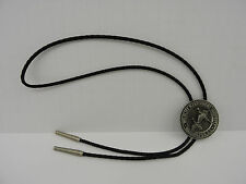 Vintage Sid Bell Bolo Tie Wildlife Institute Washington DC Black Leather Geese