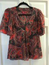 MONSOON Brown and Orange Paisley Style Pattern Loose Fit Top Size UK 8