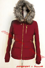 MICHAEL KORS Hooded Fur-Trim Quilted Down Puffer Jacket Coat S Red