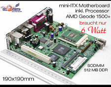 12v SCHEDA MADRE MINI-ITX HP t5000 Incl. CPU AMD 1500+ & 512mb DDR rs-232 USB LPT