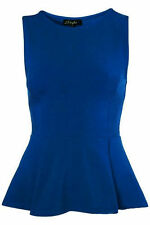 NEW LADIES SLEEVELESS PEPLUM TOP SKATER WOMENS FRILL PEPLUM FLARED TOP 8 - 26