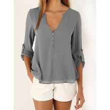 New Sexy Women's Loose Chiffon V-Neck Tops Long Sleeve Shirt Casual Blouse