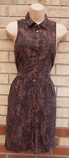 NEW LOOK BROWN LEOPARD ANIMAL ALL BUTTONED BACKLESS T SHIRT SKATER DRESS 10 S
