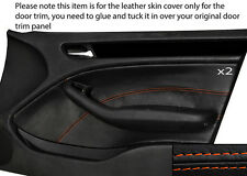 ORANGE STITCHING 2X FRONT DOOR CARD TRIM SKIN COVER FITS BMW E46 SALOON 98-05