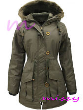 NEW WOMENS Ladies Plus Size Parka MILITARY Quilted HOODED Winter Coat SIZE 18-24