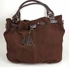 LARGE BROWN SUEDE AND LEATHER BAG HANDBAG TOTE