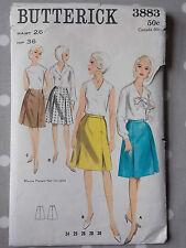 60s High Waist A-line Skirt Vtg Sewing Pattern Butterick 3883 W 26