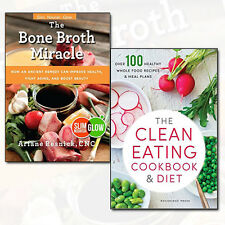 Clean Eating Cookbook & Diet Recipes 2 Books Set Pack Bone Broth Miracle NEW