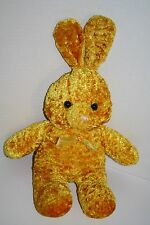 "Orange Gold Crushed Plush Easter BUNNY RABBIT 14"" Flower Bow Stuffed Soft Toy"