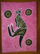 AUS-13 Kangaroo pink Australian Native Aboriginal PAINTING dot Artwork T Morgan