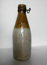Antique Stoneware Beer Bottle Mustard Brown White Grosvenor 4 Glascow Scotland