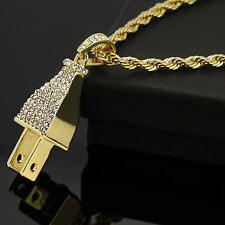 "Hip Hop Iced Out ELECTRIC THICK PLUG Pendant 14k Gold Plated 24"" Rope Chain Link"