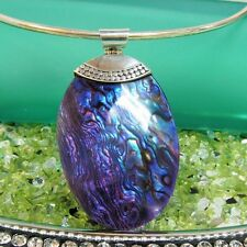 """2 1/2"""" Oval Purple Abalone Shell HANDMADE 925 SOLID Sterling Silver Pendant"""