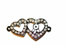 1pc Black Rhinestone Double Heart Bracelet Connector Charms 1-3 day Shipping