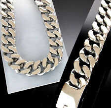 MACHING SET 316L SUPER HEAVY Stainless Steel Bracelet Necklace Men Wide Big no1
