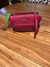 $298 New! KATE SPADE Baxter Street Crossbody Leather Purse—RED Plum