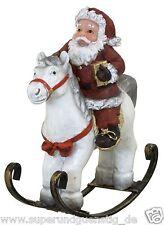 Weihnachtsmann auf Schaukelpferd Dekofigur Pferd Schaukel aus Polyresin 31244