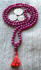 108 Jade Magenta Handmade Stress Relief Mala Beads Necklace -Blessed & Energized