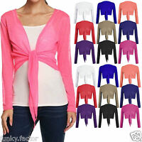 Womens Ladies Girls PLAIN Tie Knot BOLERO SHRUG Cable Cardigan Shrugs UK 8 to 14