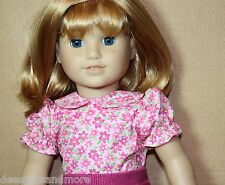 Doll Clothes fitting 18 inch American Girl Doll Pink Seersucker Fl Print Blouse