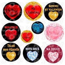 60 Images digitales pour bijoux cabochon amour st Valentin coeur rond rose rouge