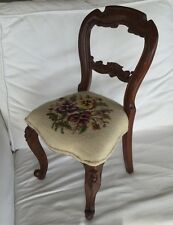 Sweet Small ANTIQUE VICTORIAN CARVED WOOD NEEDLEPOINT FLORAL Child's Doll CHAIR