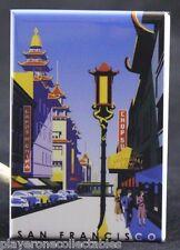 "San Francisco Chinatown Vintage Travel Poster 2"" X 3"" Fridge Magnet. California"