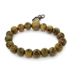 Sandalwood Buddha Word FO Kwan-Yin Beads Tibet Buddhist Prayer Bracelet Mala