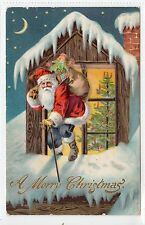 """A MERRY CHRISTMAS"": Embossed Santa Claus postcard (C14090)"