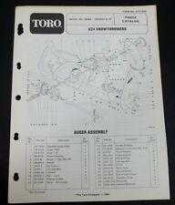 Toro 624 Snowthrower Snowblower Parts Catalog Model 38065 Serial 0000001 And Up