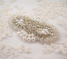 Gorgeous Diamante Motif Rhinestone Pearl Wedding Applique Beaded Bridal Applique