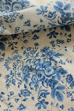Antique French ruffled curtain Prussian BLUE printed cotton  1860 AGED curtain
