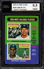 1975 TOPPS OPC O PEE CHEE 194 1956 MVP MICKEY MANTLE DON NEWCOMBE KSA 9.5 GEM MT