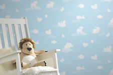 "Blue & White, Childrens ""Animal Cloud"" Wallpaper (fantastic for a Nursery)"