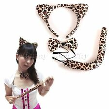 3x Sexy Leopard Halloween Costume Unisex Party Ears Headband Bow Tie Tail Set