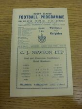 23/08/1958 Rugby League Programme: Warrington v Keighley (folded). Bobfrankandel