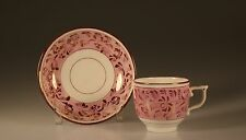 Early Pink Lustreware Handpainted Flowers and Vines Teacup and Saucer, c. 1920s