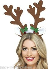 Ladies Reindeer Antler Headband Xmas Hat Fancy Dress Costume Accessory Hair Band