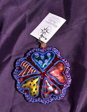 Christopher Radko Groovy Hearts Glass Ornament Children's art Project RARE