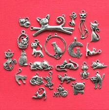 Cat Deluxe Charm Collection 25 Silver Tone Charms FREE Shipping E38